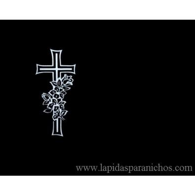 Lápida cruz en Granito arenado