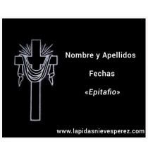 Lápida cruz con manto sagrado