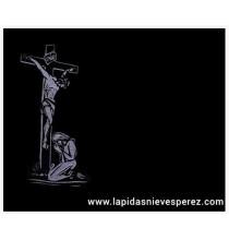 Lápida cristo en la cruz y virgen