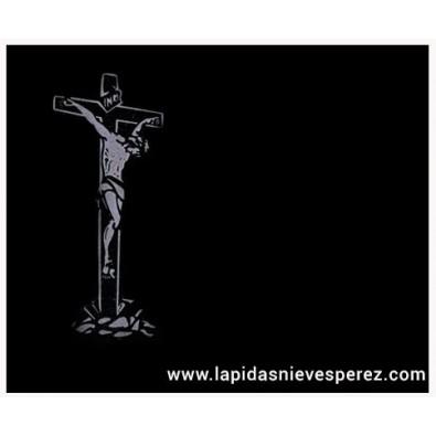 Lápida cristo en la cruz arenada