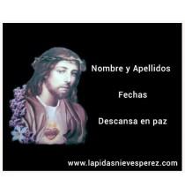 Lápida corazón de Jesús a color con flores