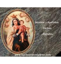 Virgen del Carmen en porcelana y granito magnético azul