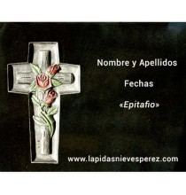 Lápida cruz con ramo de rosas