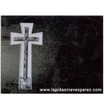 Lápida Cruz de Granito Negro